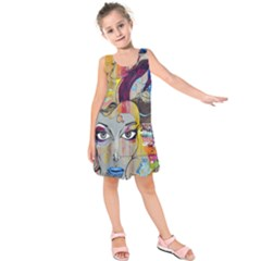 Graffiti Mural Street Art Painting Kids  Sleeveless Dress by BangZart