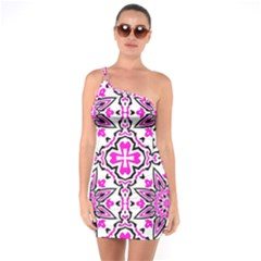 Oriental Pattern One Soulder Bodycon Dress