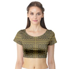 Seamless Pattern Design Texture Short Sleeve Crop Top (tight Fit)