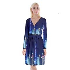 Shanghai Oriental Pearl Tv Tower Long Sleeve Velvet Front Wrap Dress