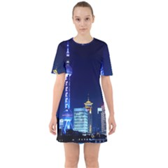 Shanghai Oriental Pearl Tv Tower Sixties Short Sleeve Mini Dress