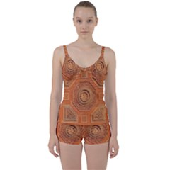 Symbolism Paneling Oriental Ornament Pattern Tie Front Two Piece Tankini by BangZart