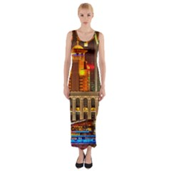 Shanghai Skyline Architecture Fitted Maxi Dress