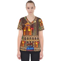 Shanghai Skyline Architecture Scrub Top by BangZart
