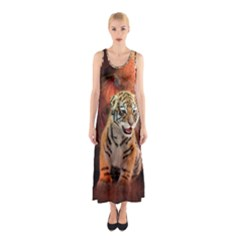 Cute Little Tiger Baby Sleeveless Maxi Dress by FantasyWorld7