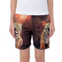 Cute Little Tiger Baby Women s Basketball Shorts by FantasyWorld7