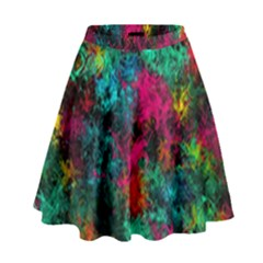 Squiggly Abstract B High Waist Skirt by MoreColorsinLife