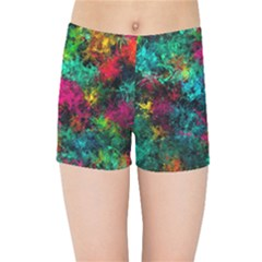 Squiggly Abstract B Kids Sports Shorts by MoreColorsinLife