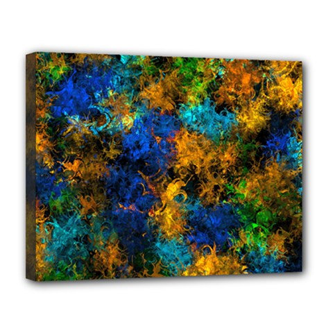 Squiggly Abstract C Canvas 14  X 11  by MoreColorsinLife