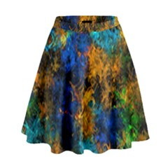 Squiggly Abstract C High Waist Skirt by MoreColorsinLife