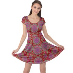 Hearts Can Also Be Flowers Such As Bleeding Hearts Pop Art Cap Sleeve Dress by pepitasart