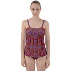 Hearts Can Also Be Flowers Such As Bleeding Hearts Pop Art Twist Front Tankini Set by pepitasart
