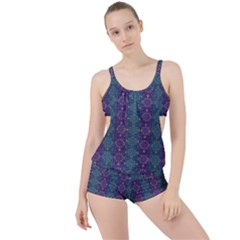 Retro Vintage Bleeding Hearts Pattern Boyleg Tankini Set