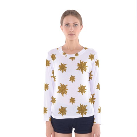 Graphic Nature Motif Pattern Women s Long Sleeve Tee by dflcprints