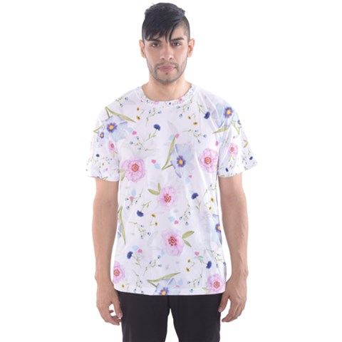 Floral Cute Girly Pattern Men s Sports Mesh Tee by paulaoliveiradesign