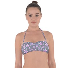Seamless Pattern Purple Girly Floral Pattern Halter Bandeau Bikini Top