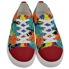 Colorful Hawaii Leaves Women s Low Top Canvas Sneakers by PattyVilleDesigns