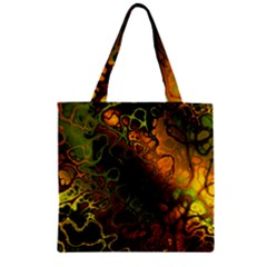Awesome Fractal 35e Zipper Grocery Tote Bag by MoreColorsinLife