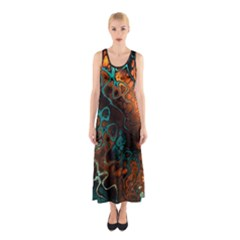 Awesome Fractal 35f Sleeveless Maxi Dress by MoreColorsinLife