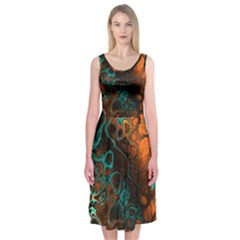 Awesome Fractal 35f Midi Sleeveless Dress by MoreColorsinLife