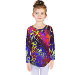 Awesome Fractal 35c Kids  Long Sleeve Tee by MoreColorsinLife