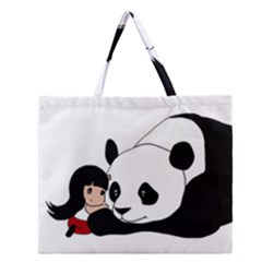 Girl And Panda Zipper Large Tote Bag by Valentinaart