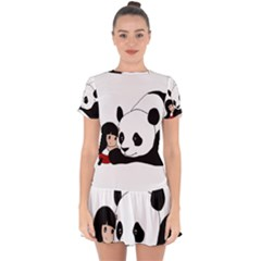 Girl And Panda Drop Hem Mini Chiffon Dress