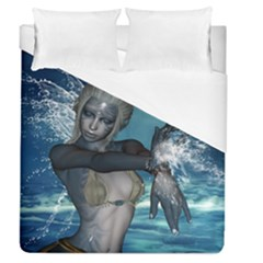 The Wonderful Water Fairy With Water Wings Duvet Cover (queen Size) by FantasyWorld7