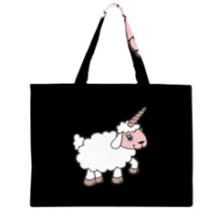 Unicorn Sheep Zipper Large Tote Bag by Valentinaart