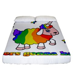 Unicorn Sheep Fitted Sheet (queen Size) by Valentinaart