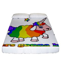 Unicorn Sheep Fitted Sheet (king Size) by Valentinaart