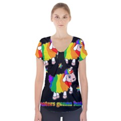 Unicorn Sheep Short Sleeve Front Detail Top