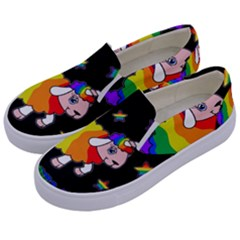 Unicorn Sheep Kids  Canvas Slip Ons by Valentinaart