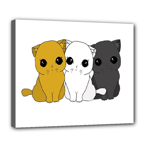 Cute Cats Deluxe Canvas 24  X 20   by Valentinaart