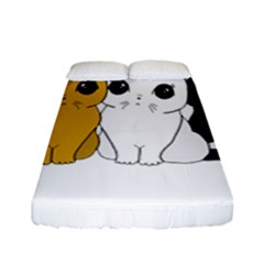 Cute Cats Fitted Sheet (full/ Double Size) by Valentinaart