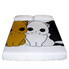 Cute Cats Fitted Sheet (king Size) by Valentinaart