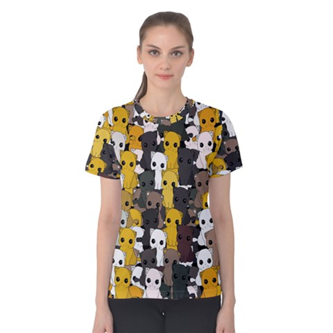 Cute Cats Pattern Women s Cotton Tee by Valentinaart