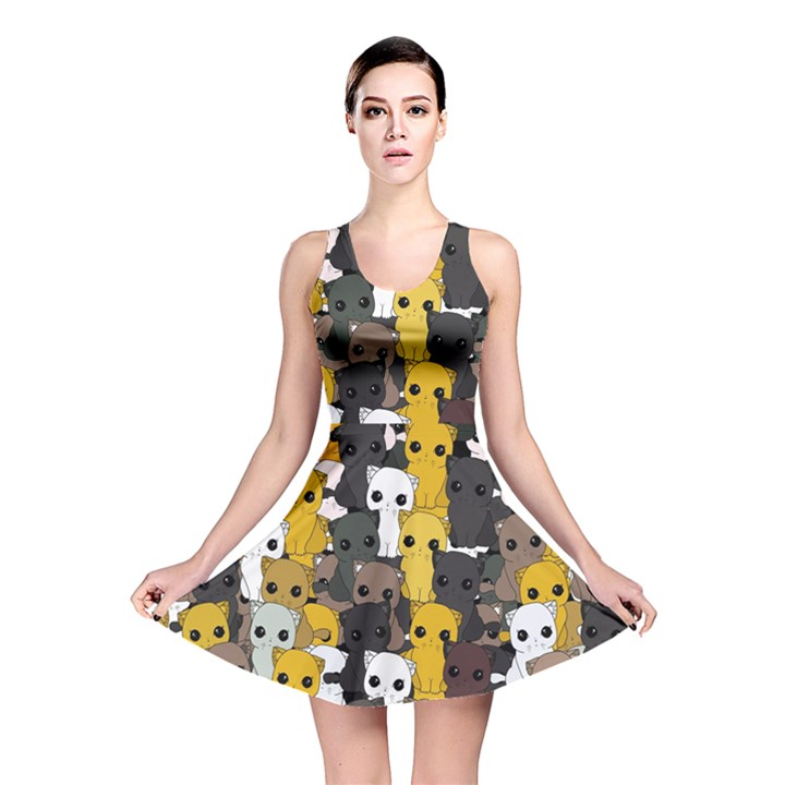 Cute cats pattern Reversible Skater Dress