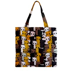 Cute Cats Pattern Zipper Grocery Tote Bag