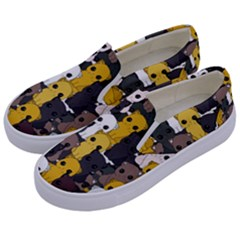 Cute Cats Pattern Kids  Canvas Slip Ons by Valentinaart