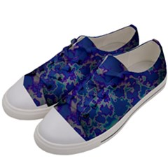 Unique Marbled Blue Men s Low Top Canvas Sneakers by Fractalworld