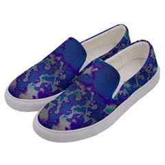 Unique Marbled Blue Men s Canvas Slip Ons by Fractalworld