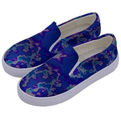 Unique Marbled Blue Kids  Canvas Slip Ons by Fractalworld