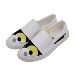 Black, Gray, Yellow Stripes And Dots Women s Canvas Slip Ons by digitaldivadesigns