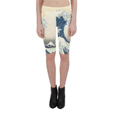 The Classic Japanese Great Wave Off Kanagawa By Hokusai Cropped Leggings  by PodArtist