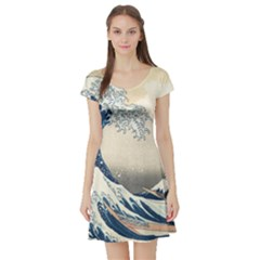 The Classic Japanese Great Wave Off Kanagawa By Hokusai Short Sleeve Skater Dress by PodArtist