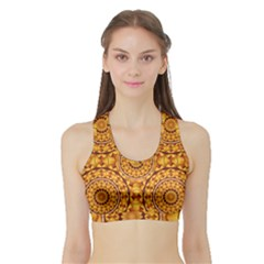Golden Mandalas Pattern Sports Bra With Border by linceazul