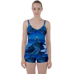 Plouzane France Lighthouse Landmark Tie Front Two Piece Tankini
