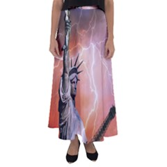 Statue Of Liberty New York Flared Maxi Skirt