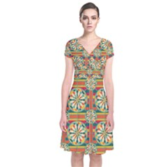 Eye Catching Pattern Short Sleeve Front Wrap Dress